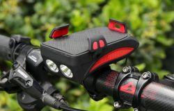 Аккумулятор USB 3 в 1 велосипед с переднего освещения звуковой сигнал и держатель для мобильного телефона