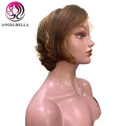 Angelbella 13X5 коротких волос человека кружевной передней парики выделите № 4/27 боковой пробор бразильского Сен Реми волосы короткие кружева парики для летнего износа
