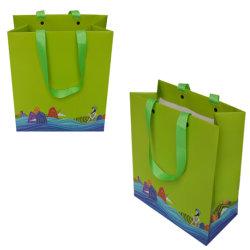 حقيبة ورق فنية خضراء ملونة مخصصة مع مقبض لهدية صندوق تسوق مجوهرات صندوق يعبّئ