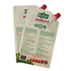 Imprimé personnalisé clair verre réutilisables de la tuyère d'aliments Housse étui en plastique Stand up liquide avec bec verseur