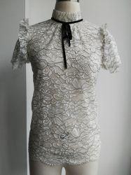 Lavori o indumenti a maglia di nylon del pullover del maglione del manicotto della camicetta delle signore del merletto del cotone di modo delle donne