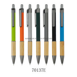 Penna a sfera in metallo con impugnatura in bambù e punta in alluminio