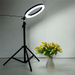 La belleza de la luz de relleno de escritorio regulable de 10 pulgadas a 25 cm de anillo de luz LED de 2m de trípode para streaming en vivo retrato Selfie