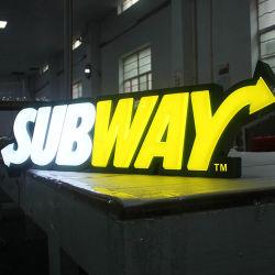 Contrassegno acrilico della costruzione della via che fa pubblicità alla casella chiara della memoria di alimento del sottopassaggio