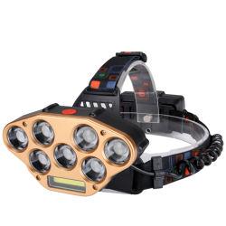 Farol de alta potência de sabugo, 7 LED de PCS +COB 18650 Impermeável Lanterna Recarregável com Lence Zoom, modo intermitente de 5 para a piscina Camping andar de Pesca