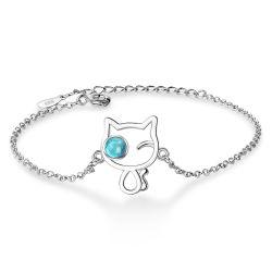 De charmante Armband van de Tegenhanger van de Ketting van de Kat van de Giften van de Juwelen van het Meisje van de Manier van de Toebehoren van het Kristal van het Huwelijk van Vrouwen Blauwe Leuke Creatieve Koreaanse