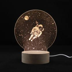 Venta caliente acrílico de 3D LED luz nocturna de astronauta para dormitorios
