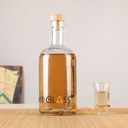 زجاجة زجاج شفافة 1L زجاجة ويسكي فريدة من نوعها مع كورك