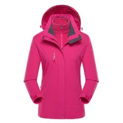 La vendita calda 2 della fabbrica in 1 Windbreaker impermeabile casuale di campeggio delle coperture molli di resistenza del vento e della pioggia del vestito Outwear i vestiti d'escursione degli uomini