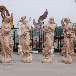 La taille de la vie de quatre saison statue de pierre Arts Jardin de sculptures en marbre (GSS-145)