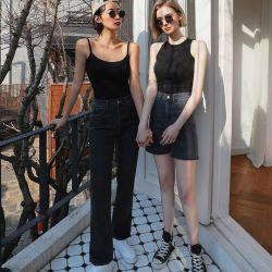 La moda de alta calidad personalizado de tramo recto Legging delgado de la mujer niñas pantalones vaqueros pantalones vaqueros