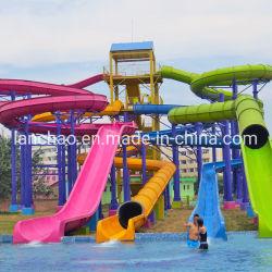 Combinaison de fibre de verre extérieur Lanchao Diapositive de l'eau Tubes en spirale pour adulte