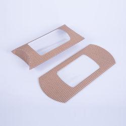 Kraft marrón papel corrugado circular de pan de caja de almohada de la ventana