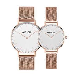 人および女性のための2019個の新しい網ストラップのシンプルな設計のカスタムロゴのステンレス鋼のDwの超薄い腕時計のミニマリストの腕時計