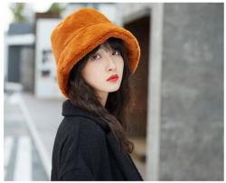 熱い販売のInvierno Bucket Winter Hats女性のためのカスタムChapeauのFemme Hiverの毛皮の女性