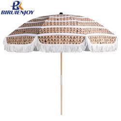 Custom piscina praia portátil de madeira Guarda-sol Parasol com pendão 200