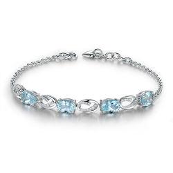 925 de echte Zilveren Natuurlijke Armband van de Link van de Ketting Genstone voor Gift van de Manier van Vrouwen de Romantische