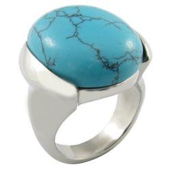 卵楕円形の白い石造りの鋼鉄メンズ宝石類
