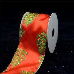 Custom напечатано проводной Рождество Craft атласная лента оптовая торговля