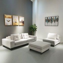 Casa moderna sala de estar Sofá transversal L Shape sofá de couro Fabric Corner Hotel Sofá