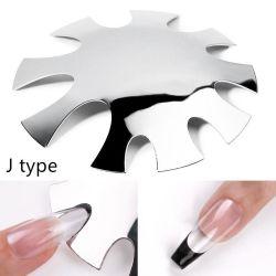 Manucure gabarit plaque clous Outils Nail acier inoxydable bord français Coupe-bordure Smile V Cut Line Almond forme Tips modèle Cutter