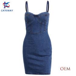 تصميم جديد أزياء دينيم جينز ميدي اللباس للنساء / النساء