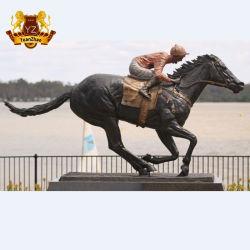 Metal al aire libre de Escultura de bronce de tamaño de la Vida Animal saltando las carreras de caballo con jinete estatua