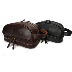 حقيبة غسيل قديمة مصنوعة يدويًا جلديًا بالجملة للرجال حقيبة تجميلية محمولة