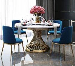 Mobili moderni Sala da pranzo lato divano e tavolino da caffè all'aperto Banchetti matrimonio pieghevole rotondo tavolo da pranzo sedia 8/10/124 seduto marmo Tavolo con console in vetro