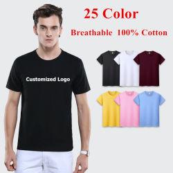 25 As cores do logotipo de impressão de tela personalizado 180GSM 100% algodão respirável camisola homens