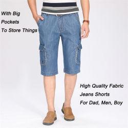 Venda a quente no Verão personalizados de alta qualidade 100% algodão Jeans logotipo impresso homens Casual Jeans Curto
