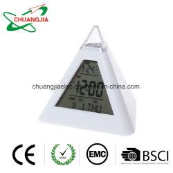 Forme pyramidale réveil numérique avec rétroéclairage à LED 7 couleurs changeant