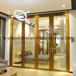 Yika Diseño de lujo Doble acristalamiento la madera de teca y compuesto de aluminio puerta plegable de Villa
