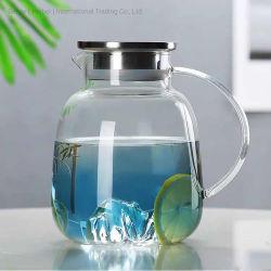 زجاجة مياه زجاجية وعاء عصير الماء ماء وعاء زجاجي إبريق زجاجي بارد بالماء مع غطاء بلاستيكي