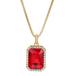 Fashion Jewelry Hip Hop 18k 24k Gold Diamond Gem Stone Hanger Ketting