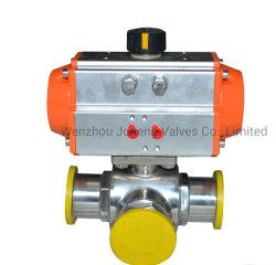 Collier de serrage pneumatique sanitaires en acier inoxydable Vanne à boisseau sphérique à trois voies (JN-BLV2004)