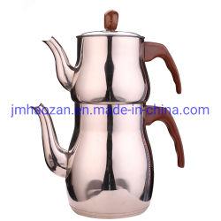 Cuerpo tienen Flor con mango de madera doble cafetera para café o té