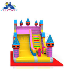 Inflable castillo Diapositiva en seco con zona de salto para el evento