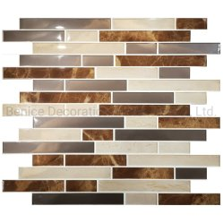 台所および浴室Backsplashのためのブラウンのモザイクタイプ容易な棒PVC壁紙の卸売の壁のステッカーのタイル