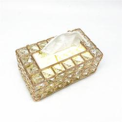 Rose Gold Crystal House Caixa tecido clássico decorativas