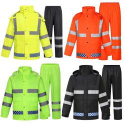 고가시성 보안용 레인 코트, 반사형 테이프 경찰 비옷