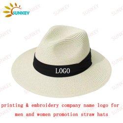 Custom Logo Wholesale Panama Straw Hat Unisex Woman and men Straw Hat Promoties Cap Hat