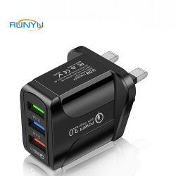 버터플라이 3U 고속 충전 QC3.0 + 2A USB 휴대폰 콘센트 충전기 흑백 하이 쿼리티(High Quarity) 영국 EU