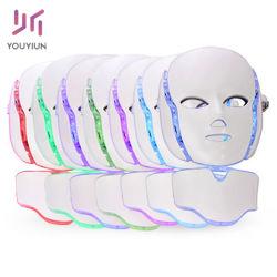 목 피부 회춘 반대로 주름 피부 관리 광양자 치료 아름다움 LED Facial 가면에 노화 방지를 위한 7개의 색깔 LED 가면