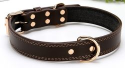 Vegan el cuero de alta calidad de cuero de vaca Collar de perro de mascota