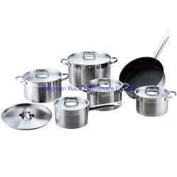 12pcs ustensiles de cuisine en acier inoxydable de ménage simple avec Pan Pot Set avec poignées confortables et avec revêtement Non-Stick Frypan