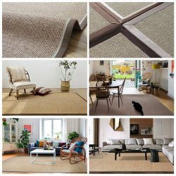 Home Hotel Resort apartamento sala de estar a usar o Office quarto de cama Tecidos de fibras naturais decorativas Tapete do Piso de sisal, Tapete de juta Sisal grossista tapetes Tapete de porta