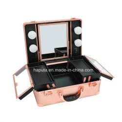 Tren de maquillaje, Organizador de cosméticos de aluminio PRO Bolsa de Caja con LED y espejo, la belleza de gran capacidad de almacenamiento de herramientas de cosméticos artista Kit (oro rosa)