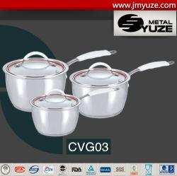 Casserole Set, poignée en silicone, verre Lidm Non-Stick casserole avec ustensiles de cuisine
