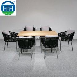 Corda de praia exterior Tecidos de Mobiliário de Jardim Mesa de jantar e cadeiras ajustada restaurante pátio de madeira de teca mesa na sala de estar